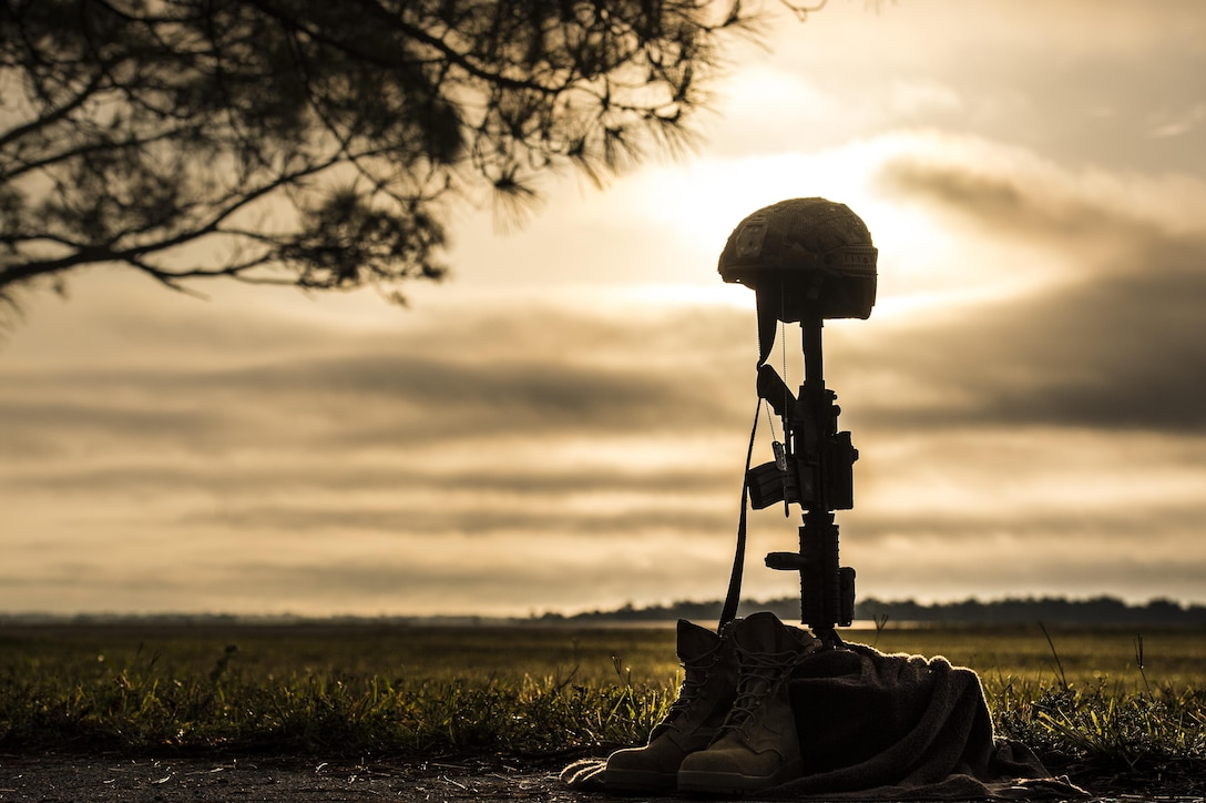 A battle cross sits on display during sunrise, April 15, 2016, at Avon Park Air Force Range, Fla. U.S. Air Force Airmen from the 93d Air Ground Operations Wing set up the cross for Lt. Col. William Schroeder, who was killed April 8. (U.S. Air Force Photo by Senior Airman Ryan Callaghan/Released)