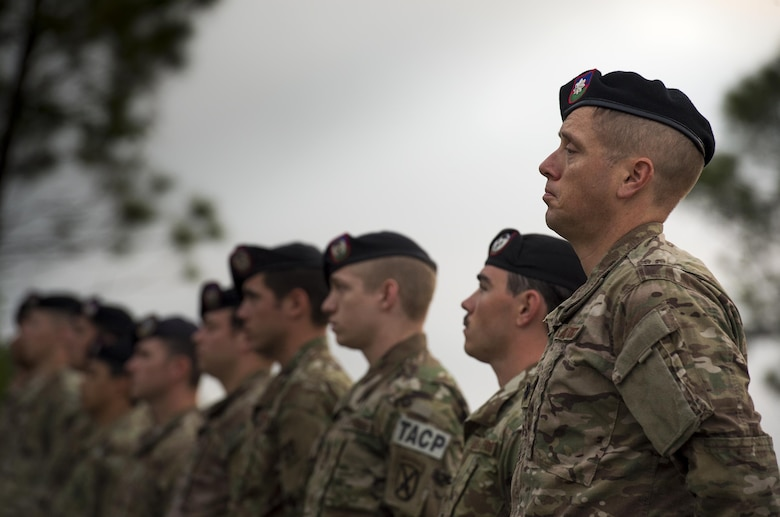 U.S. Air Force Tactical Air Control Party members from the 93d Air Ground Operations Wing stand in formation during a tribute to the late Lt. Col William Schroeder, April 15, 2016, at Avon Park Air Force Range, Fla. Schroeder was the commander of the 342nd Training Squadron at Joint Base San Antonio-Lackland, which is responsible for the entry-level training of all battlefield Airmen. (U.S. Air Force Photo by Senior Airman Ryan Callaghan/Released)