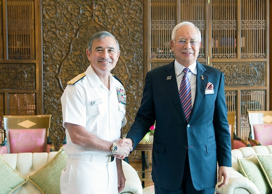 PUTRAJAYA, Malaysia (April 19, 2016) Commander of U.S. Pacific Command, Adm. Harry B. Harris Jr. met with the Prime Minister of Malaysia, Najib Razak during his visit to Malaysia to attend the Putrajaya Forum 2016.  This forum is organized by the Malaysian Institute of Defence and Security, and brings together senior leaders and professionals of academia to discuss defense and security issues in the Indo-Asia-Pacific.