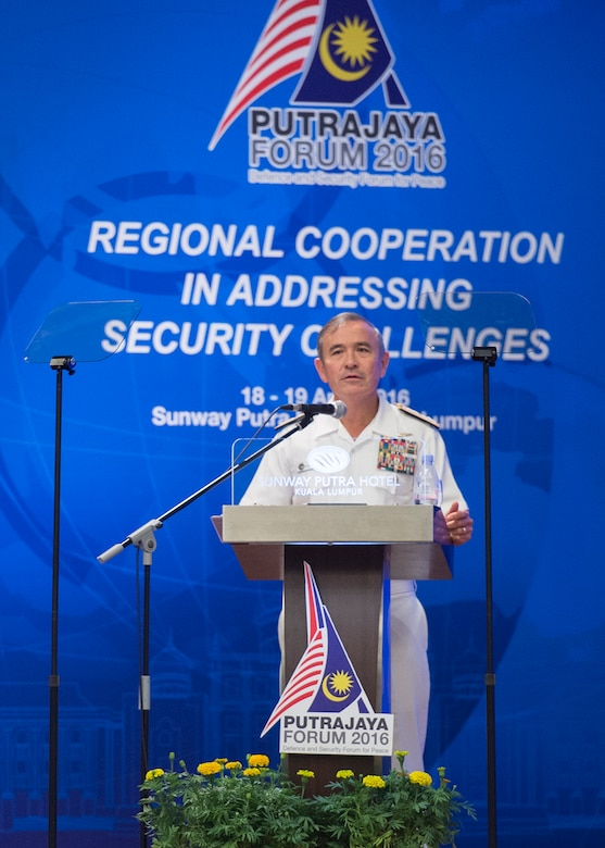 KUALA LUMPUR, Malaysia (April 19, 2016) Commander of U.S. Pacific Command, Adm. Harry B. Harris Jr. delivers remarks during Putrajaya Forum 2016. Putrajaya Forum is organized by the Malaysian Institute of Defence and Security, and brings together senior leaders and professionals of academic to discuss defense and security issues in the Indo-Asia-Pacific.