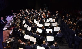 The U.S. Air Force Singing Sergeants and Concert Band perform at University Louisiana-Monroe, in Monroe, La., April 11, 2016. The bands performed across five states during a 12 day spring tour. (U.S. Air Force photo by Senior Airman Dylan Nuckolls/Released)