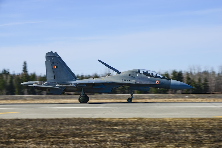 An Indian Air Force Su-30MKI fighter aircraft lands at Eielson Air Force Base, Alaska, April 16, 2016. Indian Air Force airmen arrived at Eielson in preparation for RED FLAG-Alaska 16-1. On average, more than 1,000 people and up to 60 aircraft deploy to Eielson during the two-week exercise. (U.S. Air Force photo by Staff Sgt. Joshua Turner/Released)