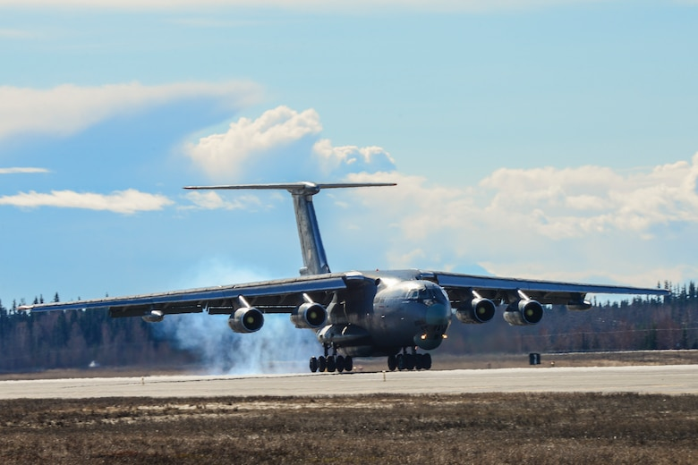 An Indian Air Force IL-78MKI aerial refueling aircraft lands at Eielson Air Force Base, Alaska, April 16, 2016. Indian Air Force airmen arrived at Eielson in preparation for RED FLAG-Alaska 16-1. RF-A is a series of Pacific Air Forces commander-directed field training exercises for U.S. and partner nation forces, providing combined offensive counter-air, interdiction, close air support and large force employment training in a simulated combat environment. (U.S. Air Force photo by Staff Sgt. Joshua Turner/Released)