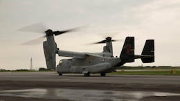 An MV-22 Osprey with Marine Medium Tiltrotor Squadron 265, 31st Marine Expeditionary Unit, begins to takeoff April 17, 2016 from Marine Corps Air Station Futenma, Japan. United States Forces, Japan is providing operational airlift support in coordination with the Government of Japan's efforts to provide relief following the devastating earthquake near Kumamoto.
