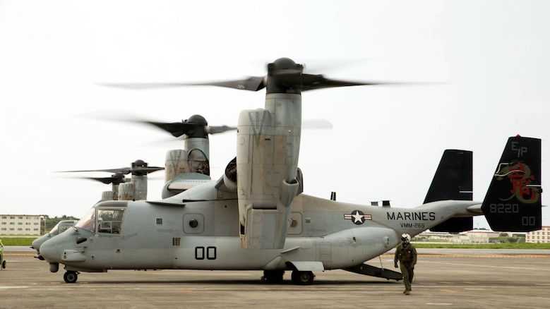 MV-22 Ospreys with Marine Medium Tiltrotor Squadron 265, 31st Marine Expeditionary Unit, prepare for takeoff April 17 on Marine Corps Air Station Futenma. United States Forces, Japan is providing operational airlift support in coordination with the Government of Japan's efforts to provide relief following the devastating earthquake near Kumamoto.