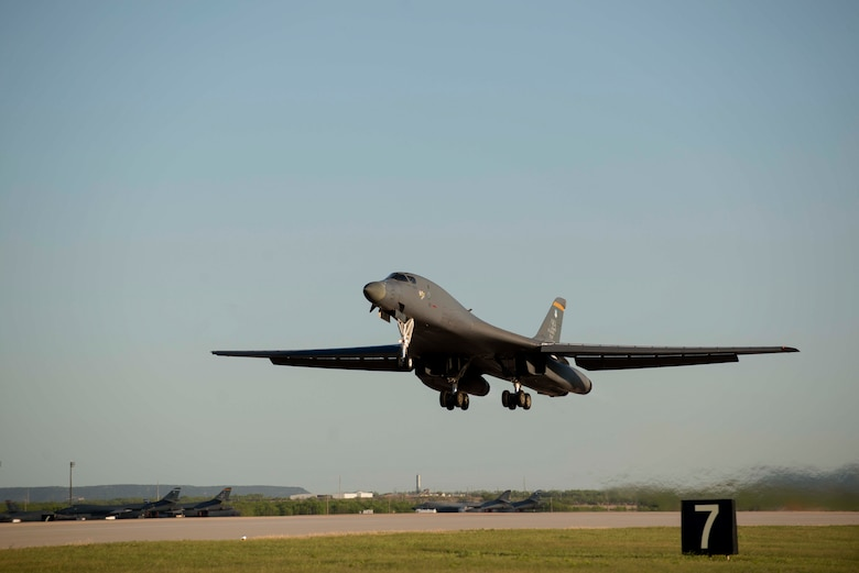A B-1B Lancer takes off April 11, 2016, at Dyess Air Force Base, Texas, during Exercise Constant Vigilance 16. CV16 is an annual Air Force Global Strike Command training exercise that tests the readiness of all Airmen and aircraft within the command. (U.S. Air Force Photo by Airman 1st Class Austin Mayfield/Released)