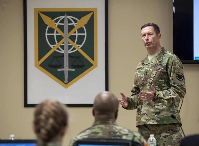 Maj. Gen. David Conboy, deputy commanding general (operations) for the U.S. Army Reserve, gives an overview brief to senior leadership and staff from the 200th Military Police Command during a Commander's Readiness Review (CR2) at the MP command's headquarters at Fort Meade, Maryland, April 16. (U.S. Army photo by Master Sgt. Michel Sauret)