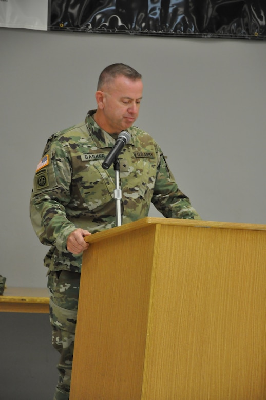 Army Reserve Brig. Gen. Vincent B. Barker, commanding general of the 310th Sustainment Command (Expeditionary), addresses and the Soldiers of the 643rd Regional Support Group during their change of command ceremony, April 9 at the Whitehall, Ohio, Army Reserve Center. Col. Stephen R. Smith, formerly the chief of staff for the 310th ESC, is taking over command of the 643rd RSG from Col. William J. McLaen.