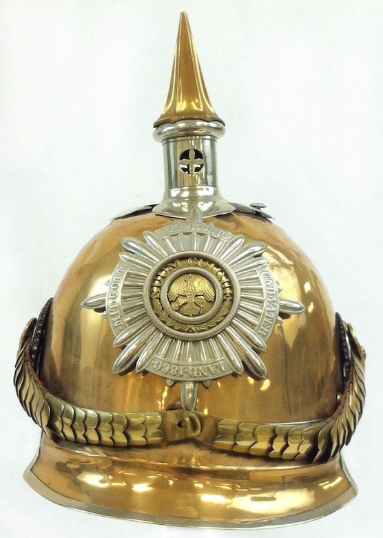 This spiked helmet, known as a pickelhaube, was originally designed by King Frederick Wilhelm IV of Prussia in 1842. This helmet design was popular among the Russian and German militaries and police prior to and during World War I.Capt. Edward V. Rickenbacker, America's highest scoring ace of WWI, brought this Prussian cavalry officer's helmet home as a wartime souvenir. It is unknown how he attained it. (U.S. Air Force photo)