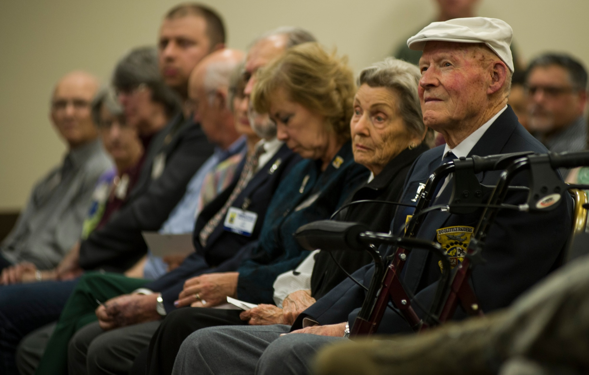 Staff Sgt. David Thatcher, a Doolittle Raider, attends the Doolittle Raider ceremony April 18, 2016, at Fairchild Air Force Base, Wash. The Doolittle Raid was a pivotal point in World War II giving a morale boost to America and proving to the Japanese military that their home islands were not invincible.  (U.S. Air Force photo/Airman 1st Class Sean Campbell)