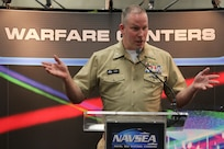 """160217-N-HW977-375 SAN DIEGO, Calif. (Feb. 17, 2015) Capt. Stephen H. Murray, commanding officer of Naval Surface Warfare Center (NSWC), Corona Division, speaks during WEST 2016, a three-day conference co-sponsored by Armed Forces Communications and Electronics Association (AFCEA) and U.S. Naval Institute (USNI). Murray described bringing """"Top Gun"""" to surface warfare, building a single metrology/calibration enterprise and using business intelligence to help the fleet plan maintenance availability. (U.S. Navy photo by Greg Vojtko/Released)"""
