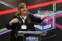 160217-N-HW977-664 SAN DIEGO, Calif. (Feb. 17, 2015) Jennifer Stewart, Naval Surface Warfare Center (NSWC), Corona Division technology transfer officer, speaks during WEST 2016, a three-day conference co-sponsored by Armed Forces Communications and Electronics Association (AFCEA) and U.S. Naval Institute (USNI). Earlier Rear Adm. Lorin Selby, NSWC commander, highlighted the intellectual capital of the warfare centers and their capability to deliver innovative technology to the warfighter. (U.S. Navy photo by Greg Vojtko/Released)