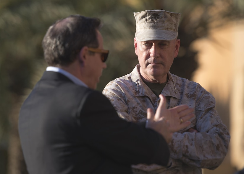 Marine Corps Gen. Joe Dunford, chairman of the Joint Chiefs of Staff, speaks to U.S. Ambassador to Iraq Stuart E. Jones, after arrving in Baghdad, April 20, 2016. DoD photo by Navy Petty Officer 2nd Class Dominique A. Pineiro