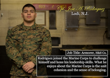 Cpl. Jose A. Rodriguez Lodi, N.J. Job Title: Armorer, H&S Co. Rodriguez joined the Marine Corps to challenge himself and hone his leadership skills. What he enjoys about the Marine Corps is the unit cohesion and the sense of belonging. (Official Marine Corps graphic by Cpl. Chi Nguyen/Released)