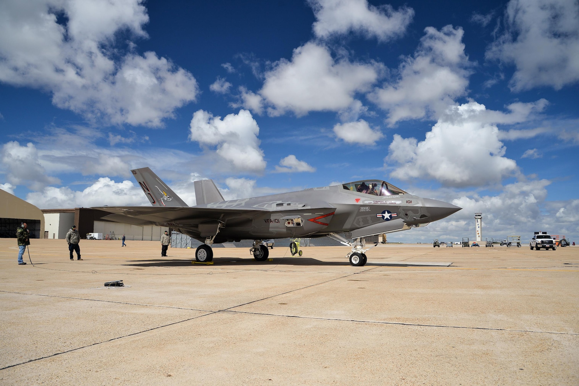 An F-35C Lightning II arrives April 15, 2016, at Hill Force Base, Utah. The aircraft is the first Navy variant to arrive at the base where it will undergo depot modifications through this summer. The aircraft is assigned to the Navy's Strike Fighter Squadron 101 at Eglin AFB, Florida. (U.S. Air Force photo/R. Nial Bradshaw)