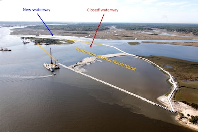 A new flow-way is now open in Chicopit Bay on the St. Johns River, and boaters there are helping the Mile Point construction crew by remaining alert in the busy construction area.