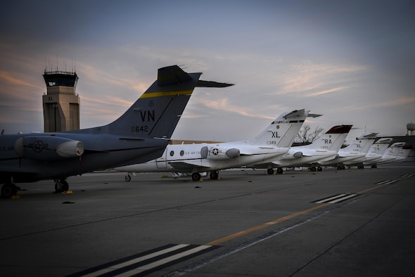 T-1A Jayhawks from throughout the Air Education and Training Command sit on the flight line of Laughlin Air Force Base, Texas, March 15, 2016. Training bases - including Vance AFB, Okla., Joint Base San Antonio-Randolph AFB, Texas and Columbus AFB, Miss. – loaned some of their aircraft to help continue student pilot training after a devastating hail storm damaged Laughlin's aircraft. The support received helps Laughlin complete its primary mission: to graduate the world's best military pilots. (U.S. Air Force photo by Senior Airman Ariel D. Partlow)