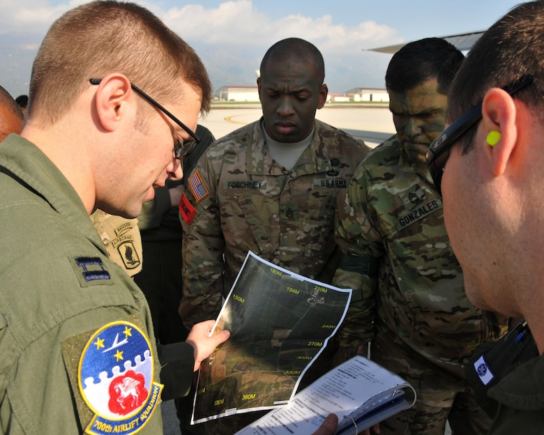 Capt. Christopher Retzlaff, 700th Airlift Squadron navigator, briefs the flight crew and Army jumpmasters at Aviano Air Base, Italy on April 12. The 94th Airlift Wing participated in Exercise Saber Junction 16 April 11-15 (U.S. Air Force photo/ Senior Airman Andrew J. Park)