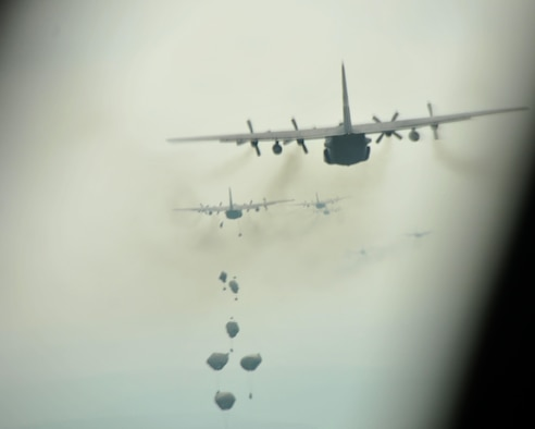 Paratroopers deploy their parachutes over Hohenfels Training Area, Germany on April 12, 2016.The 94th Airlift Wing participated in Exercise Saber Junction 16 April 11-15. (U.S. Air Force photo/ Senior Airman Andrew J. Park)