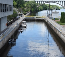 Upstream boaters are locked through at Lock and Dam 1 in Minneapolis.