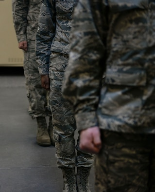 Potential honor guardsmen stand at attention in anticipation of the next command at Mountaion Home Air Force Base, Idaho, March 3, 2016. Honor guard not only reqires sharp movements, but also strict grooming standards from haircuts to ironed sand-tees. (U.S. Air Force photo by Senior Airman Jessica H. Evans/RELEASED)