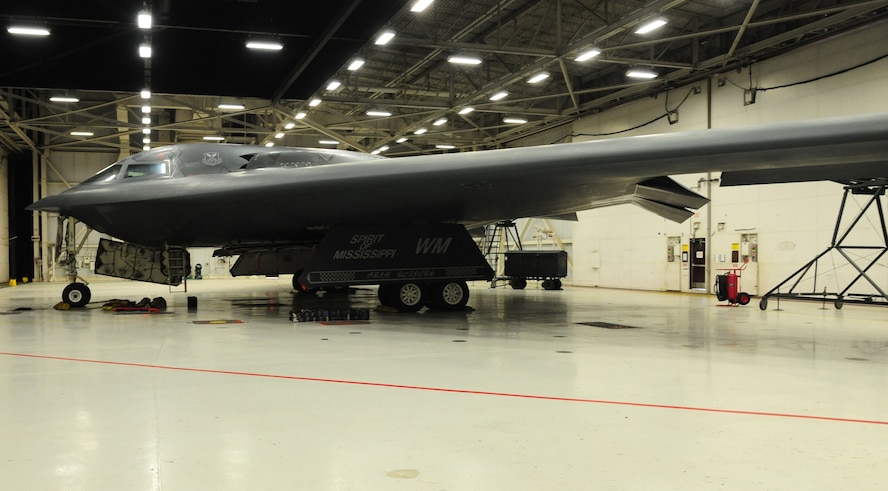 A B-2 Spirit awaits loading procedures during the CONSTANT VIGILANCE 16 exercise at Whiteman Air Force Base, Mo., April 12, 2016. The exercise included simultaneous elements that tested and refined Air Force Global Strikes policies, training and techniques at the tactical and operational levels. (U.S. Air Force photo by Airman 1st Class Keenan Berry)