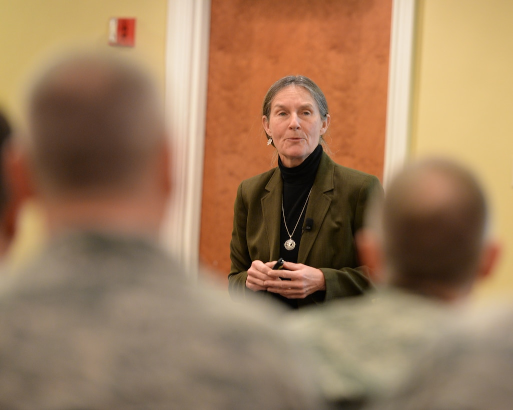 Retired U.S. Army Brig. Gen. Rhonda Cornum speaks with members of the military and their families about resilience at a Yellow Ribbon event in Portsmouth, N.H., April 2, 2016. The mission of the Yellow Ribbon Program is to promote the well-being of National Guard and Reserve service members and their families by connecting them with resources throughout their deployment cycle. (U.S. Air National Guard photo by Staff Sgt. Curtis J. Lenz)