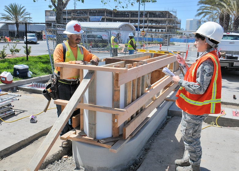 Space and Missile Systems Center only contracting enlisted member SrA Gladys Pargas survey upgrades at the Douglas Street Gate on March 9 2016 at Los Angeles Air Force Base. (U.S Air Force photo/Joe Juarez)