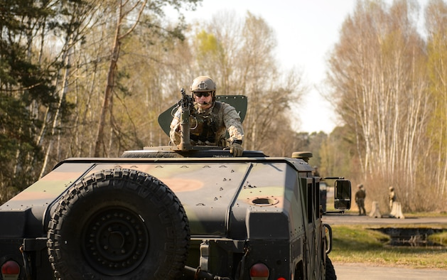 A 435th Security Forces Squadron member trains with his group at Ramstein Air Base, Germany, April 11, 2016. The 435th SFS and members of the 435th Contingency Response Group practiced tactics they needed to deploy in preparation for a future mission. (U.S. Air Force photo/Staff Sgt. Armando A. Schwier-Morales)