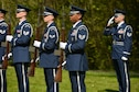 PARIS - A U.S. Air Force Honor Guard fire team from Spangdahlem Air Base, Germany, awaits the command to perform a 21-gun salute during the Lafayette Escadrille Memorial 100th anniversary ceremony in Marnes-la-Coquette, France, April 20, 2016. More than 200 Americans flew with France in the Lafayette Flying Corps prior to U.S. entry into World War I. Airmen from the USAF and their French counterparts, along with civilians from both countries, paid tribute to the men who served and the sacrifices of the 68 American airmen who died fighting with the French in World War I. The memorial highlights the 238-year alliance between the U.S. and France with their long history of shared values and sacrifice. (U.S. Air Force Photo by Tech. Sgt. Joshua DeMotts/Released)