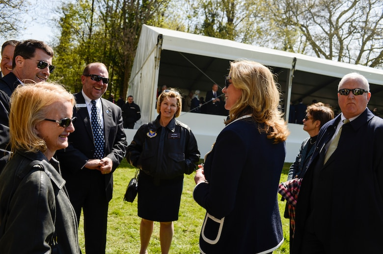 PARIS -- Secretary of the Air Force, Deborah Lee James, speaks with a group of Air Force civic leaders, unpaid advisors, key communicators and advocates for the Air Force, after the Lafayette Escadrille Memorial 100th anniversary ceremony in Marnes-la-Coquette, France, April 20, 2016. (U.S. Air Force Photo by Tech. Sgt. Joshua DeMotts/Released)