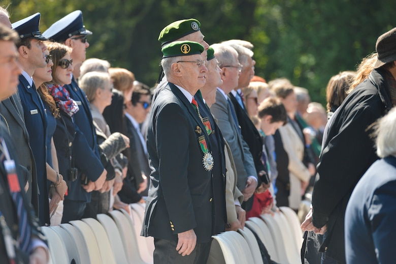 PARIS – French and American military and civilian representatives attend the Lafayette Escadrille Memorial 100th anniversary ceremony in Marnes-la-Coquette, France, April 20, 2016, during a ceremony honoring the 268 Americans who joined the French Air Force before the U.S. officially engaged in World War I. Airmen from the U.S. Air Force and their French counterparts, along with civilians from both countries, paid tribute to the men who served and the sacrifices of the 68 American airmen who died fighting with the French in World War I. The memorial highlights the 238-year alliance between the U.S. and France with their long history of shared values and sacrifice. (U.S. Air Force Photo by Tech. Sgt. Joshua DeMotts/Released)