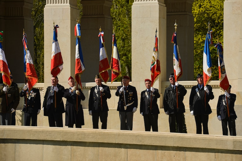 PARIS – French veterans bear the colors during the Lafayette Escadrille Memorial 100th anniversary ceremony in Marnes-la-Coquette, France, April 20, 2016. The ceremony honored the more than 200 Americans who fought with France in the Lafayette Flying Corps prior to the U.S. entry into World War I. The ceremony also paid tribute to the 68 American Airmen who died while serving with the unit while highlighting the 238-year alliance between the U.S. and France with their long history of shared values and sacrifice. (U.S. Air Force Photo by Tech. Sgt. Joshua DeMotts/Released)