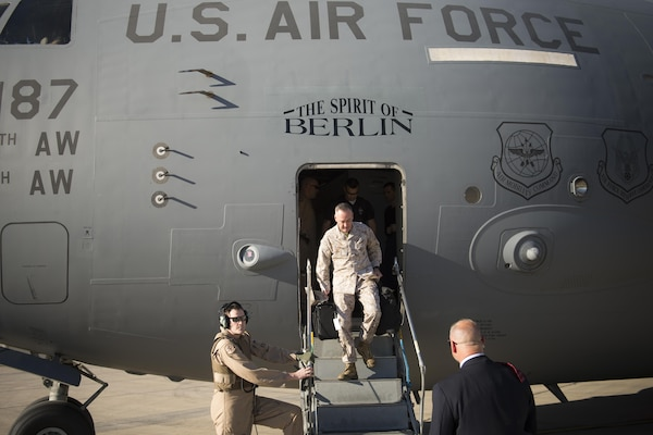 Marine Corps Gen. Joe Dunford, chairman of the Joint Chiefs of Staff, arrives at Baghdad International Airport in Baghdad, April 20, 2016. DoD photo by Navy Petty Officer 2nd Class Dominique A. Pineiro