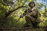 Cpl. Jesse Meinhardt, squad leader, Company K, 3rd Battalion, 1st Marine Regiment, 1st Marine Division, looks down the line to observe his squad's dispersion during squad tactics training on Marine Corps Base Camp Pendleton April 19, 2016. Meinhardt recently took on the role as squad leader. It's a position he has been waiting to fill for nearly four years.