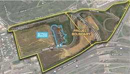A graphic depicting the boundaries for Arlington National Cemetery's Southern Expansion Project.