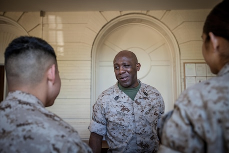 The 18th Sergeant Major of the Marine Corps, Ronald L. Green, visits Marines assigned to Marine Corps Base Quantico, VA., Apr. 20, 2016. (U.S. Marine Corps photo by Sgt. Melissa Marnell, Office of the Sergeant Major of the Marine Corps/Released)