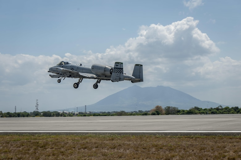 A U.S. Air Force A-10C Thunderbolt II, with the 51st Fighter Wing, Osan Air Base, Republic of Korea, takes off from Clark Air Base, Philippines, April 19, 2016. The A-10Cs flew as part of a newly stood up Air Contingent in the Indo-Asia-Pacific region. The air contingent will promote interoperability and provide greater and more transparent air and maritime situational awareness to ensure safety for military and civilian activities in international waters and airspace. (U.S. Air Force photo by Staff Sgt. Benjamin W. Stratton)