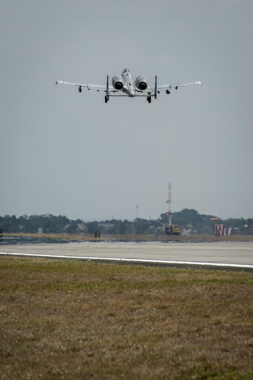 A U.S. Air Force A-10C Thunderbolt II, with the 51st Fighter Wing, Osan Air Base, Republic of Korea, takes off from Clark Air Base, Philippines, April 19, 2016. The A-10Cs are part of the newly stood up Air Contingent here conducting operations ranging from air and maritime domain awareness, personnel recovery, combating piracy, and assurance all nations have access to the regional air and maritime domains in accordance with international law. (U.S. Air Force photo by Staff Sgt. Benjamin W. Stratton)