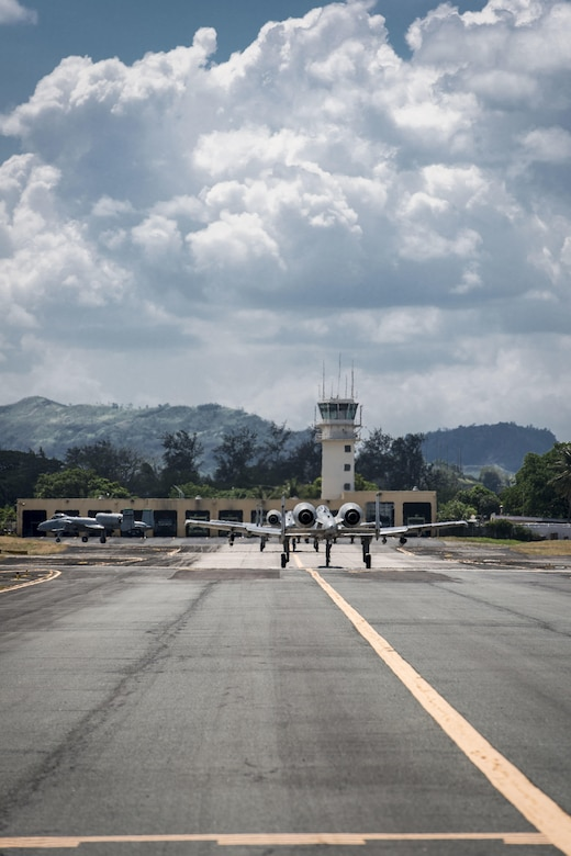 Four U.S. Air Force A-10C Thunderbolt IIs, with the 51st Fighter Wing, Osan Air Base, Republic of Korea, return to Clark Air Base, Philippines, April 19, 2016, after flying their first operational mission through international airspace in the vicinity of Scarborough Shoal west of the Philippines providing air and maritime situational awareness. These missions promote transparency and safety of movement in international waters and airspace, showcasing the U.S. commitment to ally and partner nations and to the Indo-Asia-Pacific region's continued stability now and for generations to come. (U.S. Air Force photo by Staff Sgt. Benjamin W. Stratton)