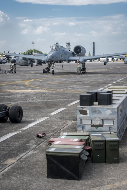 A U.S. Air Force A-10C Thunderbolt II, with the 51st Fighter Wing, Osan Air Base, Republic of Korea, is prepped for a mission out of Clark Air Base, Philippines, April 19, 2016. The A-10C is here as part of a newly stood up Air Contingent conducting operations ranging from air and maritime domain awareness, personnel recovery, combating piracy, and assurance all nations have access to the regional air and maritime domains in accordance with international law. The A-10 is capable of loitering close to the surface for extended periods to allow for excellent visibility over land and sea domains. Through these missions, U.S. Pacific Command and the Philippine military seek to provide transparent maritime situational awareness while ensuring safety of military and civilian operations in international waters and airspace. (U.S. Air Force photo by Staff Sgt. Benjamin W. Stratton)