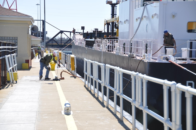 The Lock Wall team, led by Lockmaster Tom Braunscheidel, operated as a well-oiled machine to ensure the vessel and towboat passed safely and successfully through the lock on their way back to Michigan.