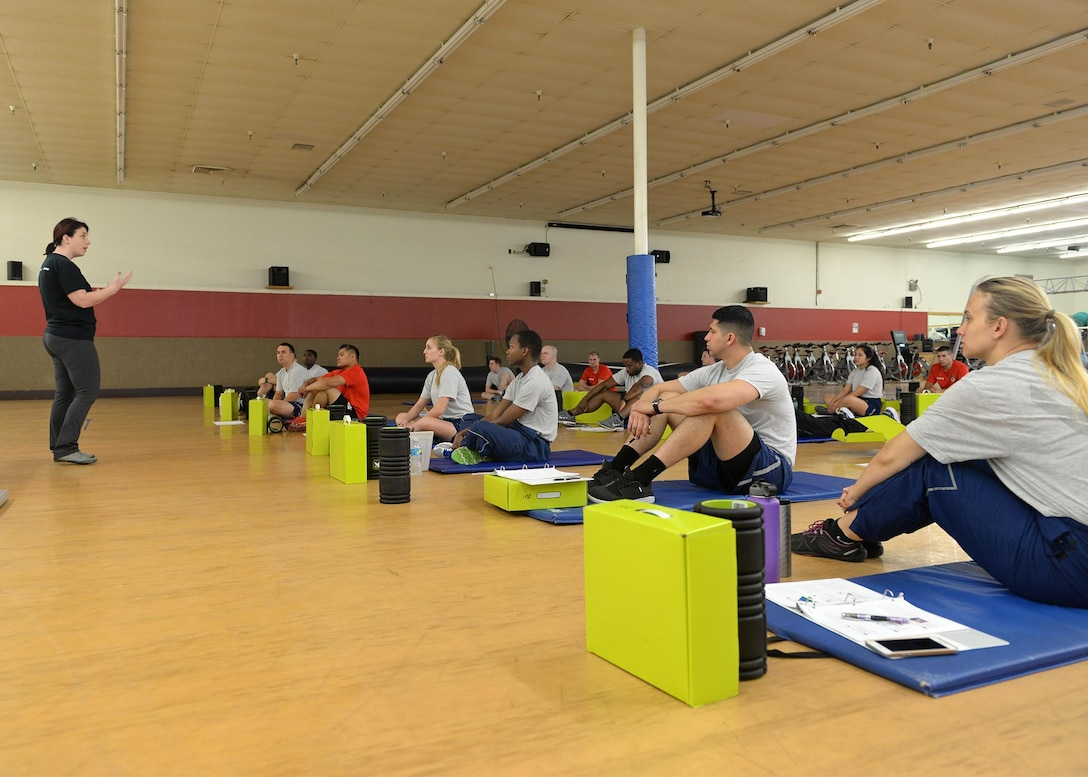 Members from the 548th Intelligence, Surveillance and Reconnaissance Group participates in a functional movement screening course as part of a Human Performance Coach Initiative April 1, 2016. The screening assesses movement patterns, mobility and stability. The Human Performance Coach Initiative provides Airmen a certification in a series of training covering fitness, nutrition, sports psychology, and tactical strength and conditioning. This enables them to prescribed individual and squadron fitness and nutritional coaching, education, and training to address occupational demands and unique mission requirements of their community. (U.S. Air Force photo by Senior Airman Ramon A. Adelan)