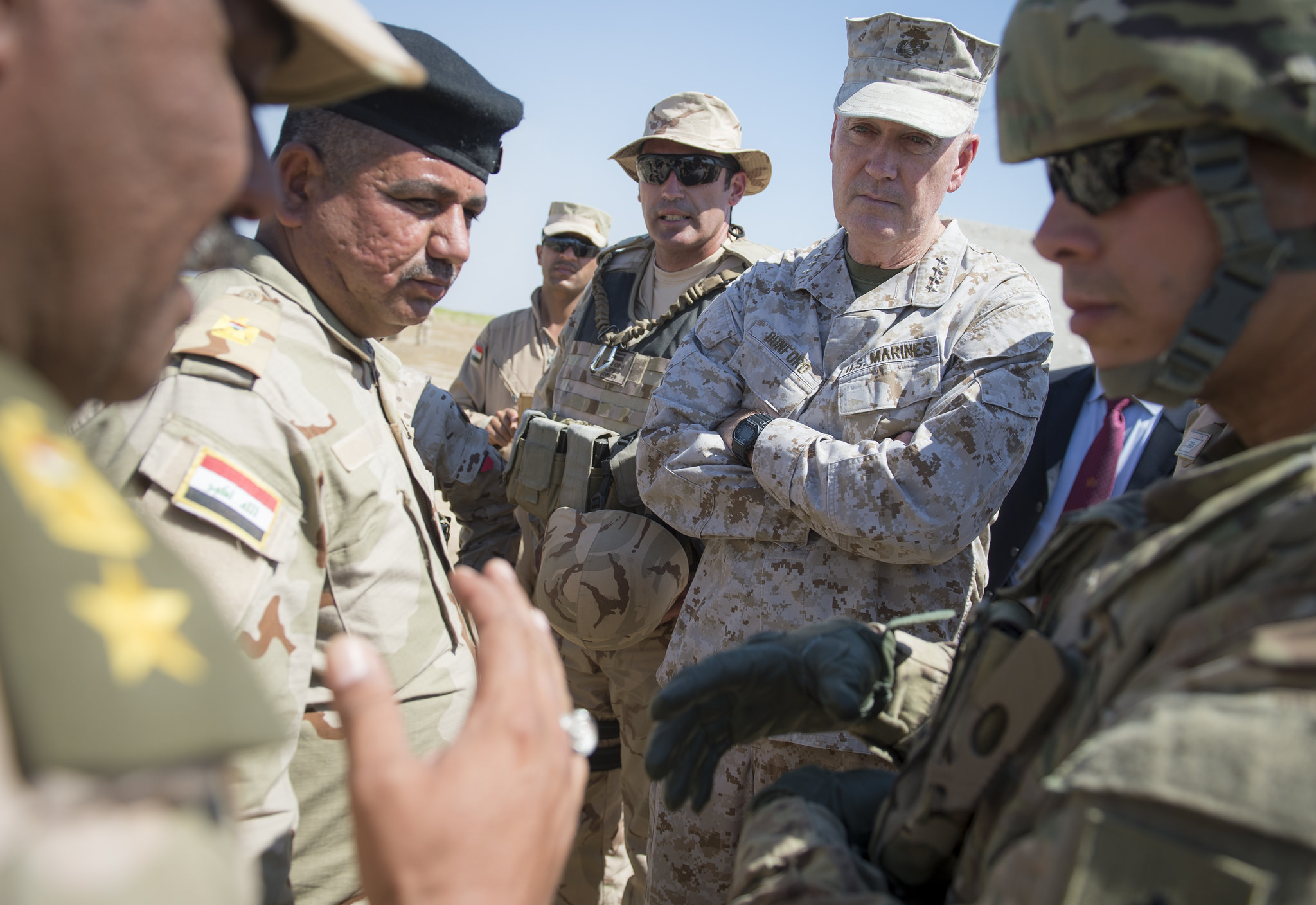 Marine Corps Gen. Joe Dunford, chairman of the Joint Chiefs of Staff, meets with Iraqi leaders and coalition trainers in the Combined Joint Task Force Operation Inherent Resolve at Besmaya Range Complex April 21, 2016. (DoD photo by Navy Petty Officer 2nd Class Dominique A. Pineiro)