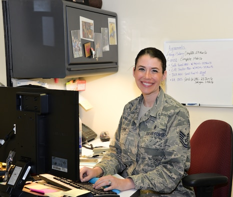 Tech. Sgt. Lisa Sawchak, 60th Medical Support Squadron uniform business office manager and NCO in charge, poses for a photo April 19 at David Grant USAF Medical Center. Sawchak handles data concerning money and manpower for all of the squadrons within DGMC. (U.S. Air Force photo by Senior Airman Amber Carter)