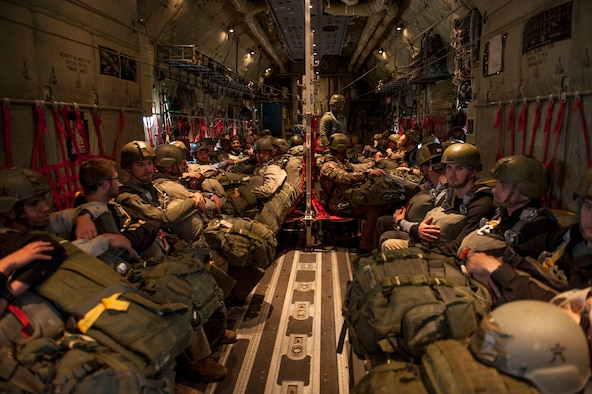 U.S. Army Soldiers prepair for a static line jump out of a C130J in support of the Green Flag Little Rock 16-06 excercise April 17, 2016, at Ft. Polk, La. Improving on mission management, situational awareness and weather planning are all goals in the green flag exercise. (U.S. Air Force photo by Senior Airman Stephanie Serrano)