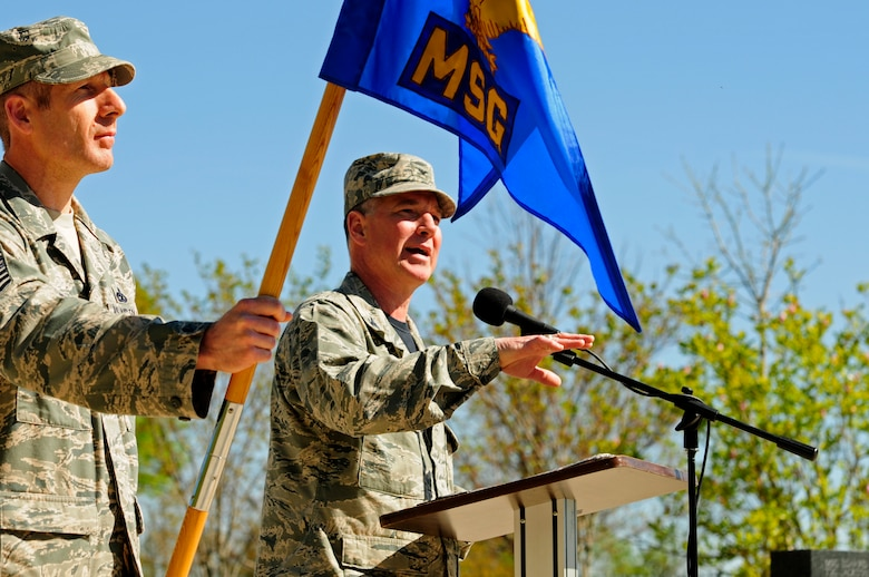 U.S. Air Force Col. Russell Ponder, commander, 145th Mission Support Group (MSG), addresses a formation of 145th MSG Airmen during an assumption of command ceremony held at the North Carolina Air National Guard Base, Charlotte Douglas International Airport, April 9, 2016. Ponder discussed his goals and his readiness to tackle the challenges in the future. (U.S. Air National Guard photo by Staff Sgt. Julianne M. Showalter/Released)