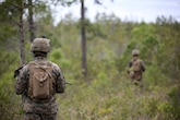 Lance Cpl. Trequan Neely, a rifleman with Lima Company, 3rd Battalion, 8th Marine Regiment, conducts a security patrol as part of a battalion field exercise at Marine Corps Base Camp Lejeune, N.C., April 20, 2016. The exercise, split into three phases, includes unknown distance ranges, advanced rifle qualification ranges and fire team attacks.