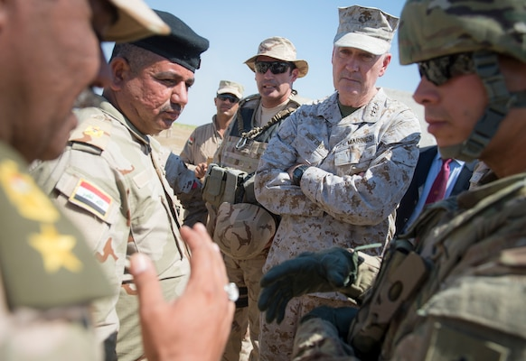Marine Corps Gen. Joe Dunford, chairman of the Joint Chiefs of Staff, meets with Iraqi leaders and coalition trainers in the Combined Joint Task Force Operation Inherent Resolve at Besmaya Range Complex April 21, 2016. DoD photo by Navy Petty Officer 2nd Class Dominique A. Pineiro