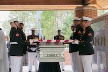 Body Bearers from Marine Barracks Washington, D.C. fold a flag during a funeral for Medal of Honor Recipient, Pfc. Hector A. Cafferata Jr., (USMCR) at Quantico National Cemetery, Va. April 22, 2016. According to Cafferata's Medal of Honor award citation, on Nov. 28, 1950 while serving as a rifleman with Fox Company, 2nd Battalion, 7th Marines, 1st Marine Division, during the Chosin Reservoir Campaign, Cafferata's fortitude, great personal valor, and dauntless perseverance in the face of almost certain death, saved the lives of several of his fellow Marines and contributed essentially to the success achieved by his company in maintaining its defensive position against tremendous odds. Cafferata passed away, April 12, 2016 at the age of 86. (Official Marine Corps photo by Cpl. Chi Nguyen/Released)